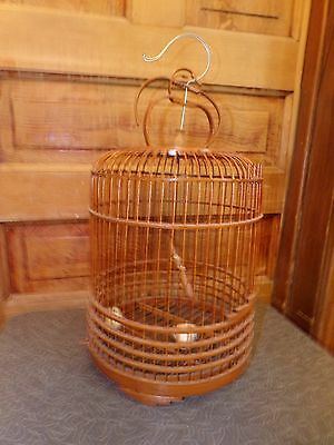 Vintage Chinese Wood And Bamboo Bird Cage
