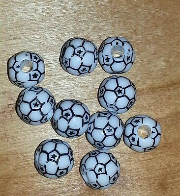 """10 - Team Sports Soccer Ball Beads -3/8""""d -1/8""""hole-Keychains,earrings,necklace"""