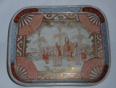 JAPANESE ANTIQUE Meiji Hand Painted TRAY - Family Scene