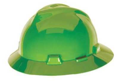 MSA 815562 Hard Hat, Full Brim, Lime Green