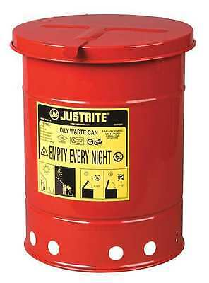 JUSTRITE 09110 Oily Waste Can, 6 Gal., Steel, Red