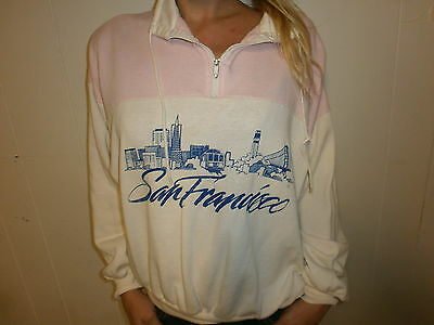 vtg 80s 90s SAN FRANCISCO SWEATSHIRT Ladies Cable Car Skyline Golden Gate Bridge