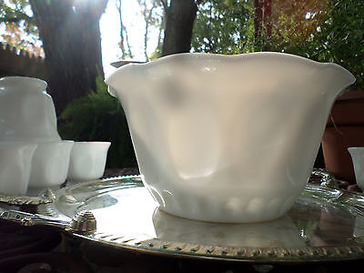 Vintage McKee? White Milk Glass Punch Bowl & Cups