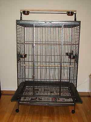 """Parrot Bird Cage Extra Large Playtop 40""""Lx30""""Wx72""""H Macaw Cockatoo African Grey"""