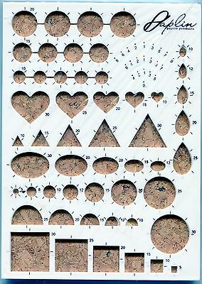 Paplin Quilling Precision Work/Guide Board Multiple Shapes Ovals, Hearts, Square