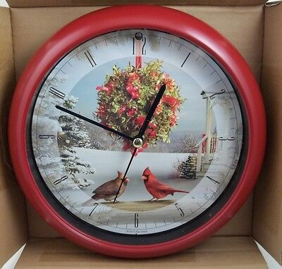 "ALAN GIANA CHRISTMAS CAROL CLOCK 8"" PLAYS 12 SONGS ON THE HOUR WALL SHELF BIRDS"