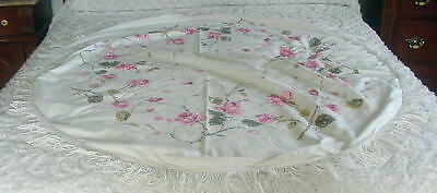 """VINTAGE ROUND TABLECLOTH WITH FRINGE ALL AROUND - APPROX 58"""" DIAMETER- PINK ROSE"""