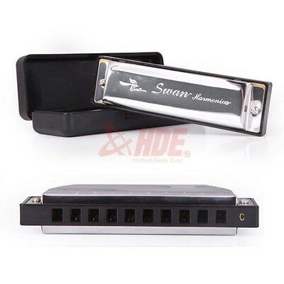 Special Swan Harmonica Metal Diatonic 10 Holes 20 Tone Key Of C With Case Silver