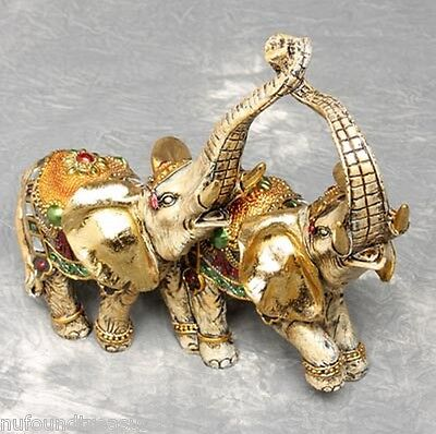 Decorated Elephant Duo Parade Ready Gold and Silver Color Table Figurine New