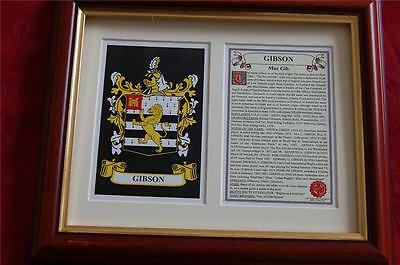 GIBSON Heraldic Framed Coat of Arms + Family Crest + History