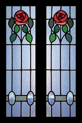 Beautiful Art Nouveau Pair Of Summers Roses Antique Stained Glass Windows
