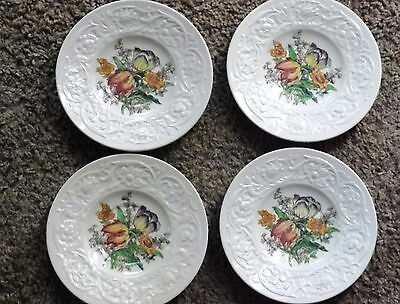 4 Vtg.  BOOTH Silicon China England Larkspur Plates Saucers