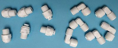 "PUSH-FIT CONNECTOR 1/4"" PF x 1/4"" Thread - WATER FILTER/RO"