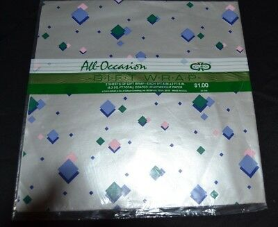 Vtg 80's Gift Wrap Paper by Cleo Geometric Shapes Green/Pink/Silver NOS Sealed!
