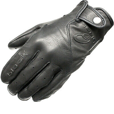 Black Static Leather Classic Vintage Fashion Motorcycle Motorbike Bike Gloves