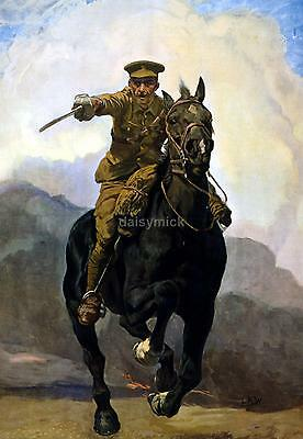 """British Army Cavalry 1915 Poster 'Forward Enlist Now' World War 1 Poster 12x8"""""""
