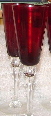 8 VINTAGE TALL RUBY STEMS FLUTES