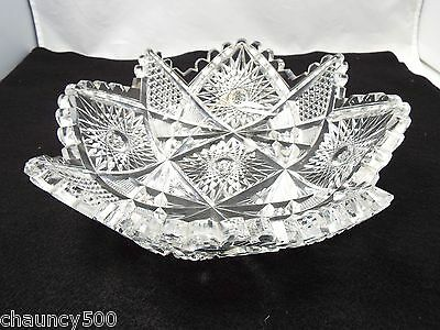 Antique American Brilliant Cut Glass Shallow Star Shaped Bowl, Sawtooth edges
