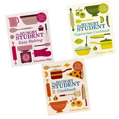 The Hungry Student Easy Baking,Student Vegetarian Cookbook 3 Book Collection Set