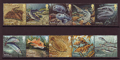 Great Britain 2014 Sustainable Fish Set Of 10 Fine Used