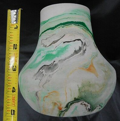 "NEMADJI USA 5"" SWIRL ART POTTERY VASE GREEN GOLD BROWN GLAZED ON INSIDE  LOT#143"
