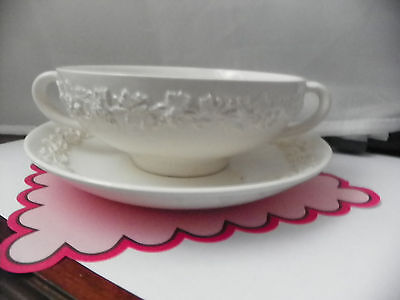 Vintage Wedgwood Queensware Cream on Cream 1946 Soup Bowl & Plate