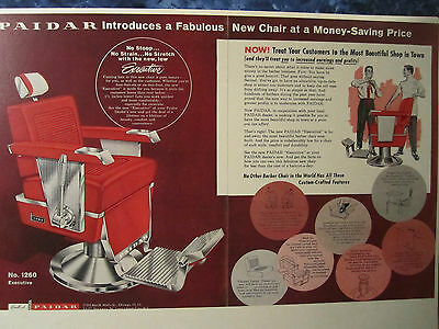 Vintage NEW PAIDAR EXECUTIVE #1260 HYDRALIC  Barber Chair Color Drawing Sign Ad