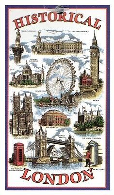 Historical London Tea Towel Souvenir Gift Big Ben Telephone Box Nelson Blue UK