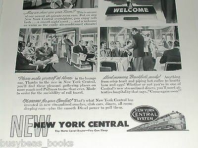 1949 NEW YORK CENTRAL Railroad advertisement, Water Level Route, FT diesels