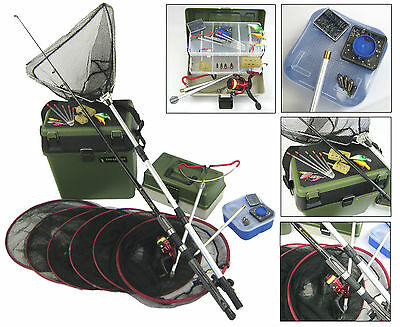 Complete Starter Beginners Fishing Kit Inc. Seat Tackle Box Tackle Nets Rod Reel