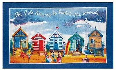 Beach Huts Tea Towel Oh I Do Like To Be By The Seaside Souvenir Gift Blue Cotton