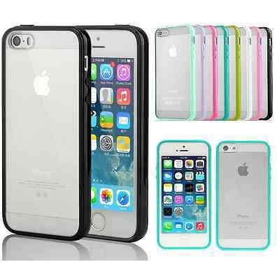 Apple Slim Design Hybrid PC Bumper Case Cover w/Hard Back For iPhone 5 5S G