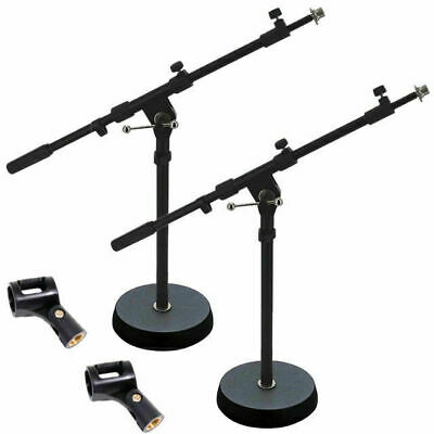 2 X Short Solid 180mm Base Telescopic Microphone Boom Stand Free Mic Clip MS238