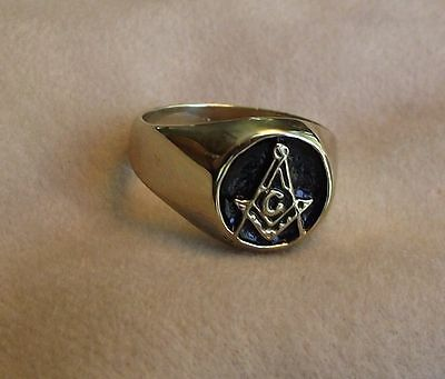 FREEMASON RING GOLD TONE  SIZE 9.5 -NO RESERVE- MORE MASONIC ITEMS LISTED