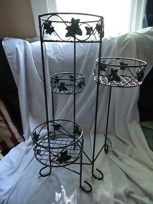 Black Outdoor Patio Plant Stand Casual Metal Bookcase 4
