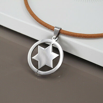 Silver Round Sheriff Star Pendant Mens Womens Natural Brown Leather Necklace NEW