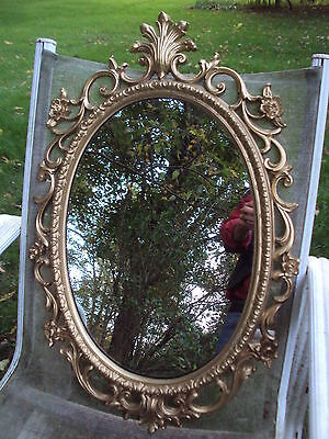 Large HOLLYWOOD REGENCY style OVAL MIRROR syroco or Molded Plastics