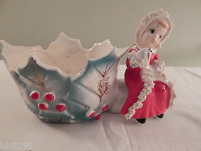 Vintage Napco Spaghetti Trim Singing Girl Holly Planter BX2280 Christmas