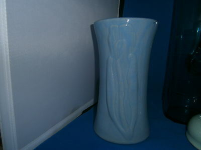 "Vintage Zanesville Stoneware Arts & Crafts 8 1/2"" Blue Vase Embossed Tulips"