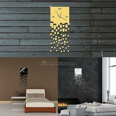 DIY 3D Mirror Effect Clock Wall Sticker Decal Watches Hours Home Room Decor