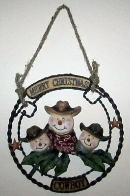 Western Merry Christmas Cowboy Snowmen Sign - Brand New Wall  Decoration 8""