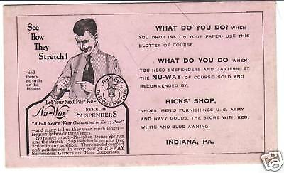 NU-WAY STRETCH SUSPENDERS ADVERTISING INK BLOTTER Hick's PA