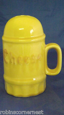 California Pottery dark yellow cheese shaker with plug Excellent