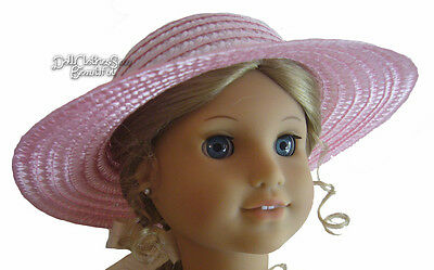 """Pink Straw Sun Hat made for 18"""" American Girl Doll Clothes Bonnet"""