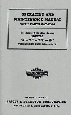 Briggs Stratton Operating Maintenance Manual Models N NP NPR NR Gas Engine Motor