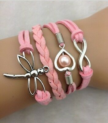 NEW Heart Infinity Dragonfly Pearl Leather Charm Bracelet plated Silver DIY HOT