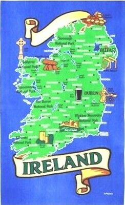 Map of Ireland Tea Towel Souvenir Gift Irish Dublin Belfast Eire Towns Cities