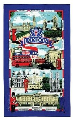 London Tea Towel Souvenir Gift Landmarks Street Names Scenes Blue UK Cotton GB