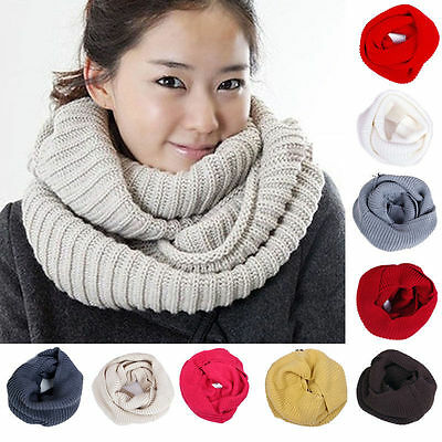 Women Men Winter Warm Infinity 1 Circle Cable Knit Cowl Xmas Neck Scarf Shawl JP