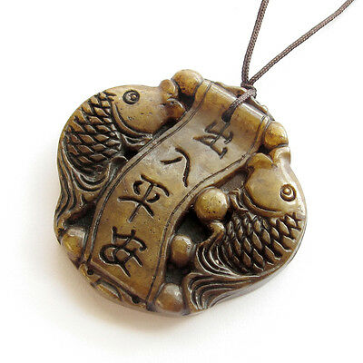 Old Jade Gemstone Happy Lucky Twin Fishes Word Amulet Pendant Talisman